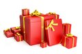 3D red gift boxes with yellow ribbons over white b