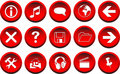 3D Red Vector Buttons Royalty Free Stock Photography