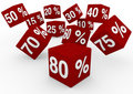 3D red white sale cubes fall down Royalty Free Stock Photo