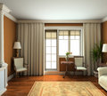 3D render classic interior of living-room Royalty Free Stock Image