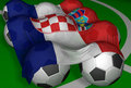 3D-rendering Croatia flag and soccer-balls Royalty Free Stock Photo