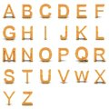 3D rendering of gold alphabet. Royalty Free Stock Photography