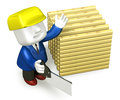 3d repairman working with firewood and saw Royalty Free Stock Photo