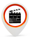 3d round pointer with movie symbol Stock Photography