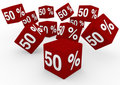 3d sale cube 50 red Stock Photo