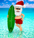 3D Santa at the beach Royalty Free Stock Images
