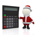 3D Santa with a calculator Royalty Free Stock Photography
