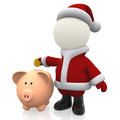 3D Santa Claus saving money Royalty Free Stock Photography