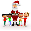 3D Santa with a group of kids Stock Photography