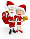 3D Santa and Mrs Claus Stock Photos