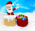 3D Santa on the roof Royalty Free Stock Photo