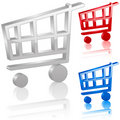 3D shopping cart symbol Stock Images
