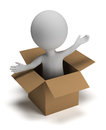 3d small people in the box Stock Image