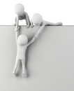 3d small people help to get up. Royalty Free Stock Photography