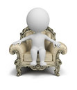 3d small people - luxurious armchair Royalty Free Stock Photo