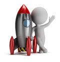3d small people next to rocket Stock Image