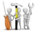 3d small people repairers. Royalty Free Stock Images