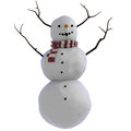 3D Snowman with sticks for antlers Stock Photo