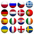 3D  Soccer balls with flag pattern. Royalty Free Stock Photo