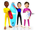 3D surfers Royalty Free Stock Photos