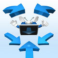 3d television man showing Stock Image