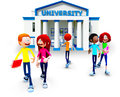 3D universitaire studenten Stock Afbeeldingen