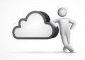 3d vector man leaning on a cloud Royalty Free Stock Photography