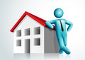 3d vector man leaning house Royalty Free Stock Image