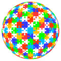 3d vector puzzle jigsaw ball in color Royalty Free Stock Photo