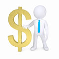 3d white man and a gold dollar sign Royalty Free Stock Photo