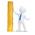 3d white man next to a pile of gold coins Royalty Free Stock Images