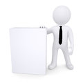 3d white man next to the white box Stock Images