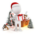 3d white people christmas scene Stock Photography