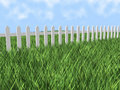 3d white picket fence Royalty Free Stock Photo