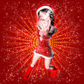 3d woman in Christmas dress Stock Photo