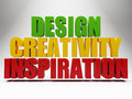 3d words design creativity inspiration over grey Stock Photos