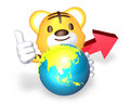 3d yellow cute tiger standing to take the red arrow Stock Image
