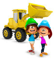 3D young construction workers Royalty Free Stock Image