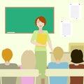 4 deltagare som lyssnar till en lärare Royaltyfri Bild