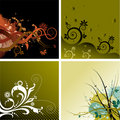 4 Floral Backgrounds Stock Image
