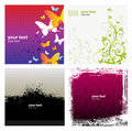 4 Grunge Banner Floral Background Royalty Free Stock Images