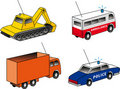 4 isometric emergency & utility vehicles Royalty Free Stock Photo
