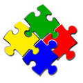 4 puzzle Stock Photography