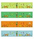 4 seasons dogs illustrations Royalty Free Stock Photo