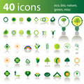 40 icons: eco, bio, nature, green, misc Stock Photo