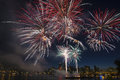 4th of July Fireworks Display in Portland Oregon Royalty Free Stock Photo