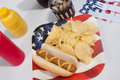 4th Of July Hotdog Meal Royalty Free Stock Images
