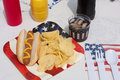 4th Of July Hotdog Meal Royalty Free Stock Photography