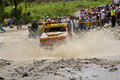 4X4 Racers through mud in Ecuador Royalty Free Stock Photos