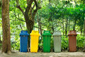 5 colors recycle bins Stock Photo
